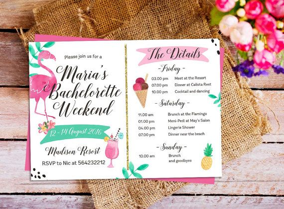 Flamingo Bachelorette Party Invitation Printable Digital Hens – Bachelorette Party Weekend Invitations