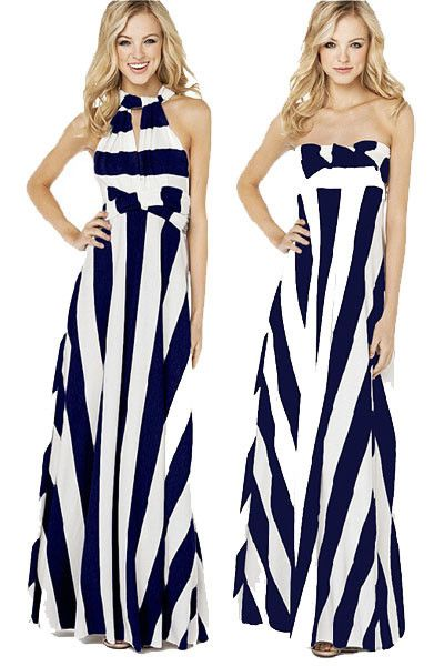 f786bb4ce4 Simple But Chic Navy White Stripe Maxi Dress in 2019