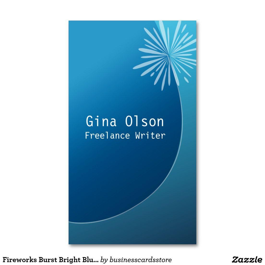 Fireworks Burst Bright Blue Business Cards Blue Business Card Business Card Design Business Card Template