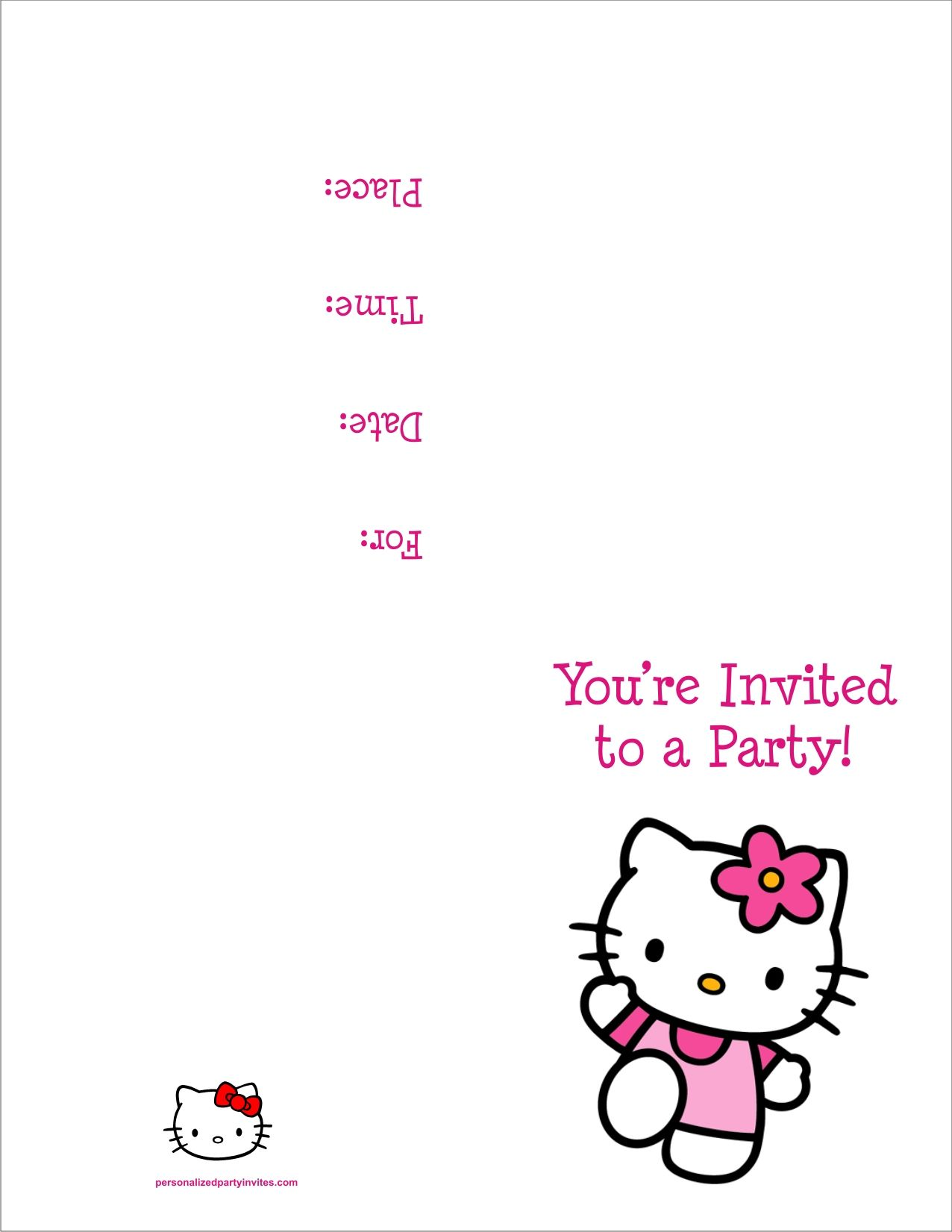 Free Hello Kitty Printables Hello Kitty FREE Printable Birthday - Party invitation template: birthday party invitation template free online