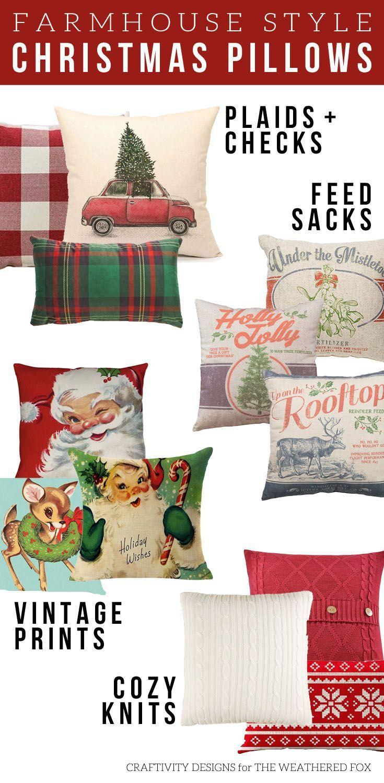 christmas pillows farmhouse style plaids checks vintage feed sack knits farmhouse christmas farmhouse christmas christmaspillows - Farmhouse Christmas Decor Pinterest