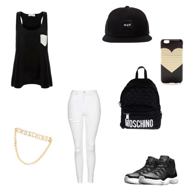 """""""Yasssss me"""" by lyricsims ❤ liked on Polyvore featuring Solid & Striped, Topshop, NIKE, J.Crew and Moschino"""
