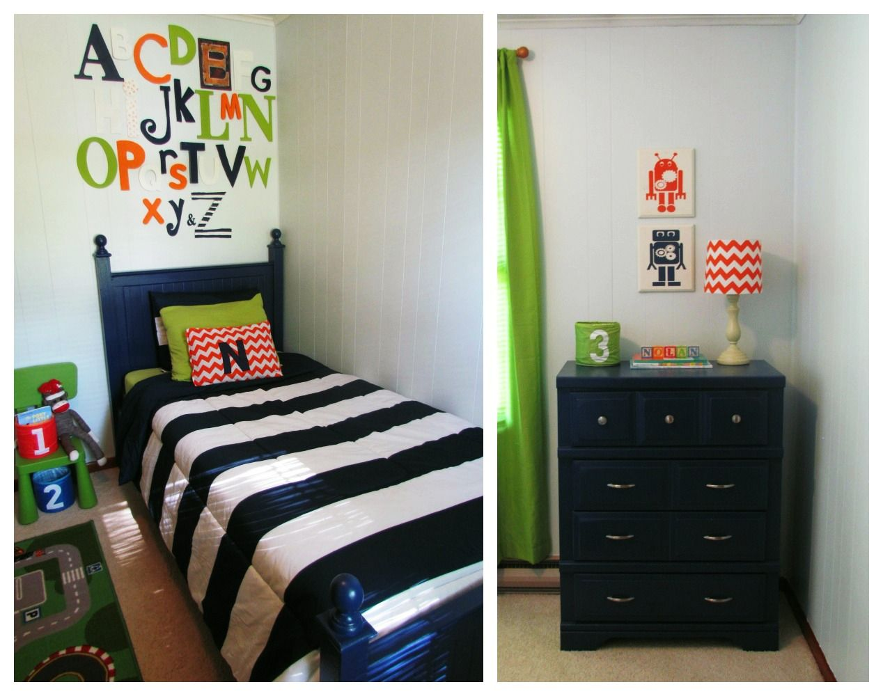 Green boys bedroom ideas - Little Boys Room Navy Green And Orange