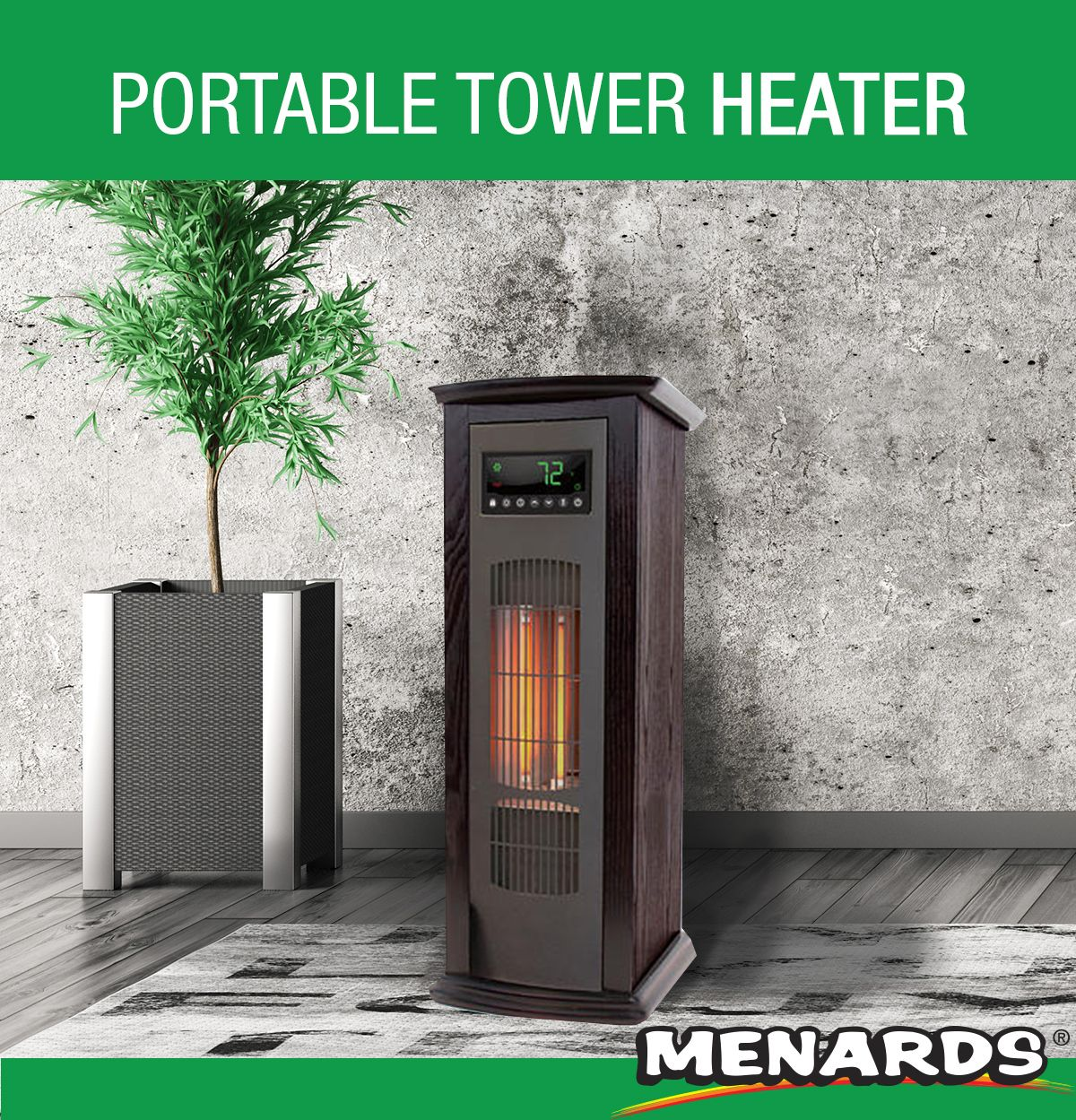 Portable electric infrared heater with 3 quartz elements