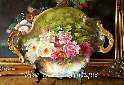 """18"""" Limoges France hand-painted roses tray/ platter, artist signed, 1892-1907"""