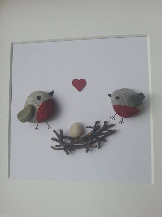 Photo of Pebble Picture Pebble art Robins appear when loved ones are