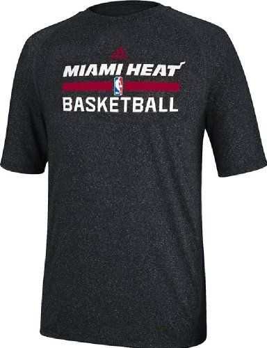 Miami Heat Heather Black Climalite Practice Short Sleeve Shirt by Adidas