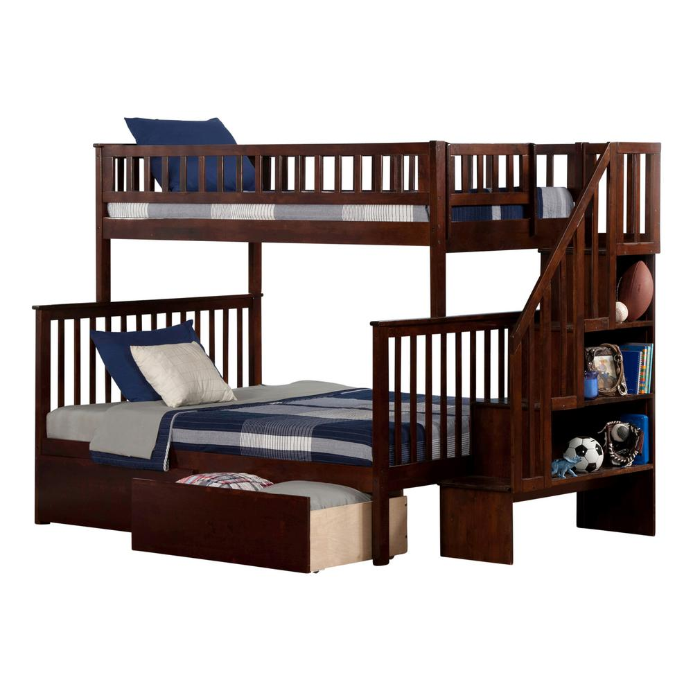 Corner twin loft bed  Atlantic Furniture Woodland Walnut Brown Twin Over Full Staircase