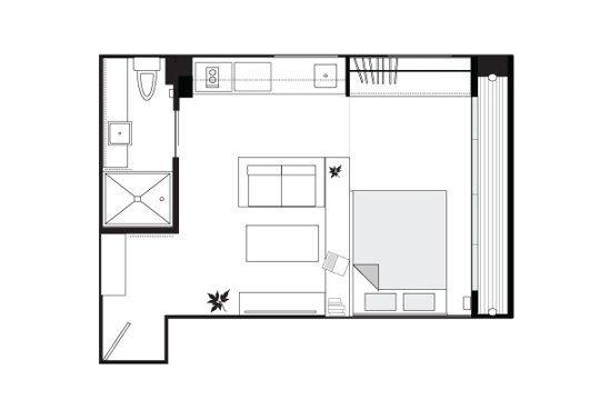 Kins Minimal Design Small Cool Apartment Floorplan