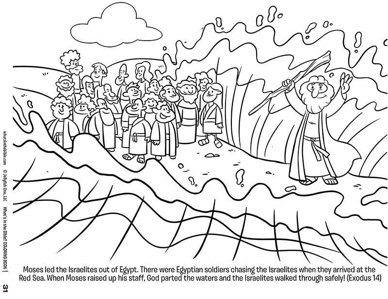 Moses And The Red Sea Free Coloring Page Download Crossing The