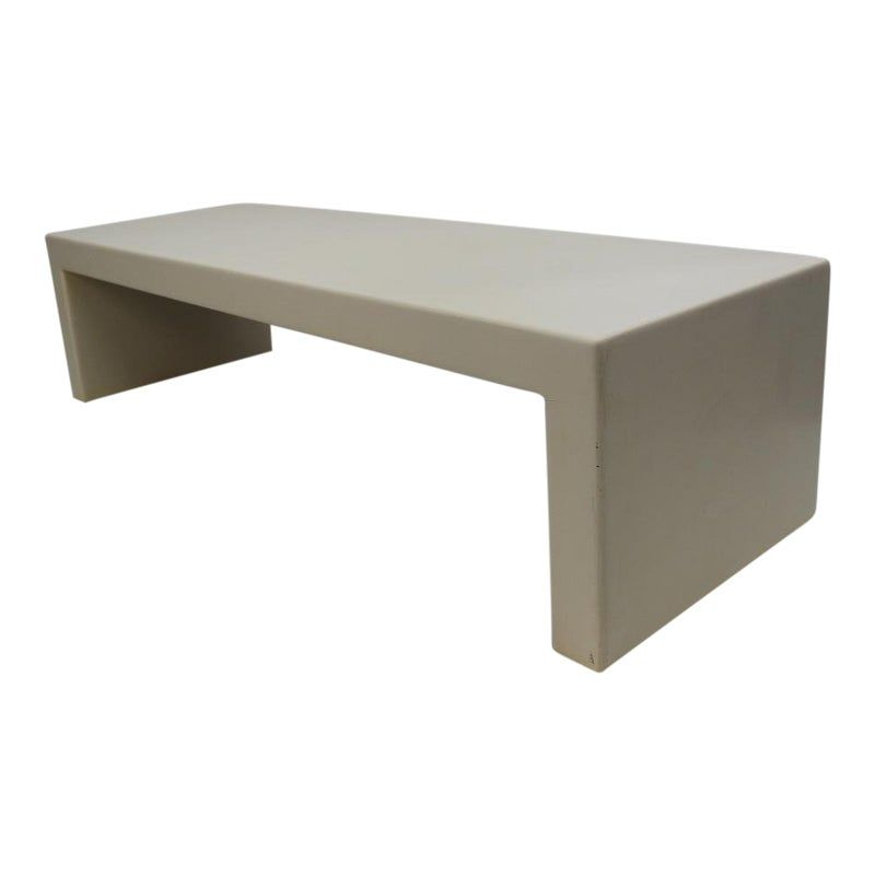 Mid Century Modern Bespoke Off White Coffee Table Bench
