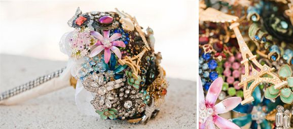 original ramo de novia con joyería vintage