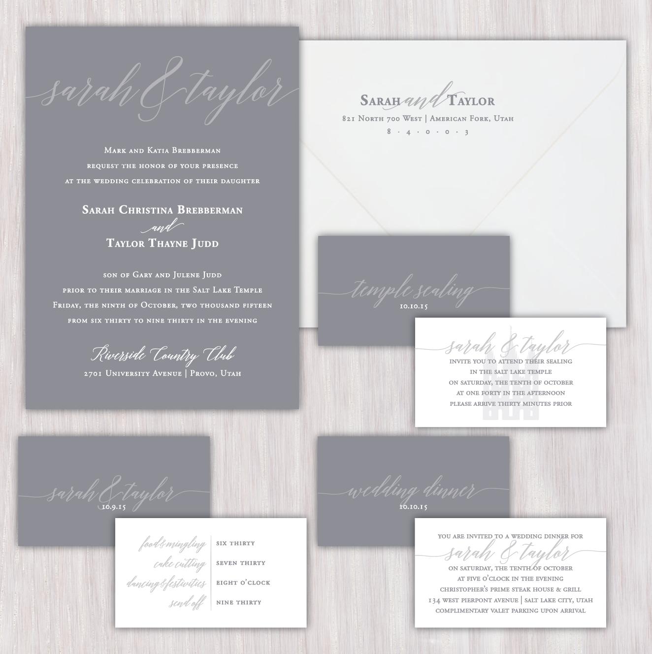 Classy simple elegant solid gray background single sided custom designed wedding invitations and decor monicamarmolfo Images