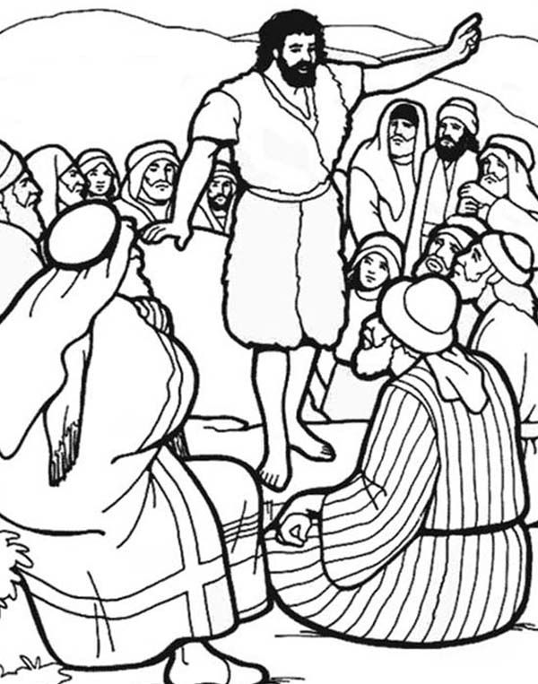 john the baptist coloring pages | John The Baptist Baptizes Jesus In ...