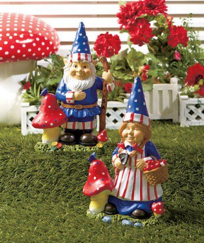 Set Of 2 Mr U0026 Mrs Gnome Patriotic Garden Statues Whimsical Yard Lawn Flower  Bed Sculpture