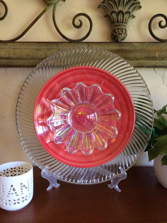 Glass plate flower poppy swirl by theglassnursery on