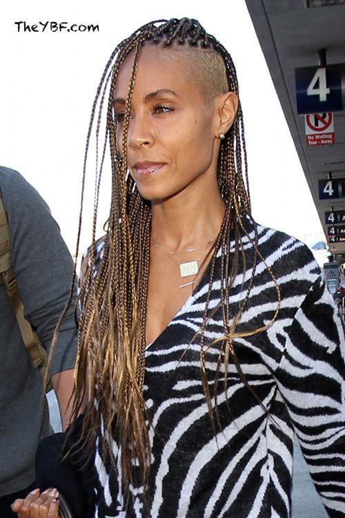 Jada Pinkett Smith Rocks Blonde Shaved Sides And Box Braids