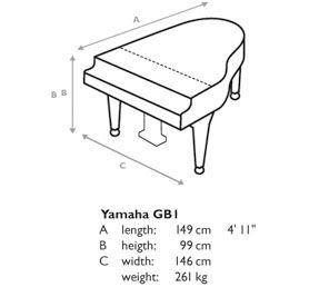 Baby grand piano size yamaha grand pianos at jaques for Small upright piano dimensions