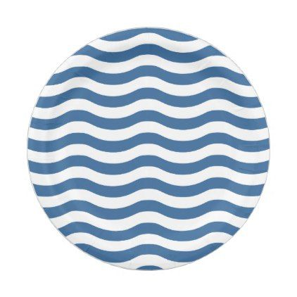 #stripes - #White Blue Wave Navy pattern Customize background Paper Plate  sc 1 st  Pinterest & stripes - #White Blue Wave Navy pattern Customize background Paper ...