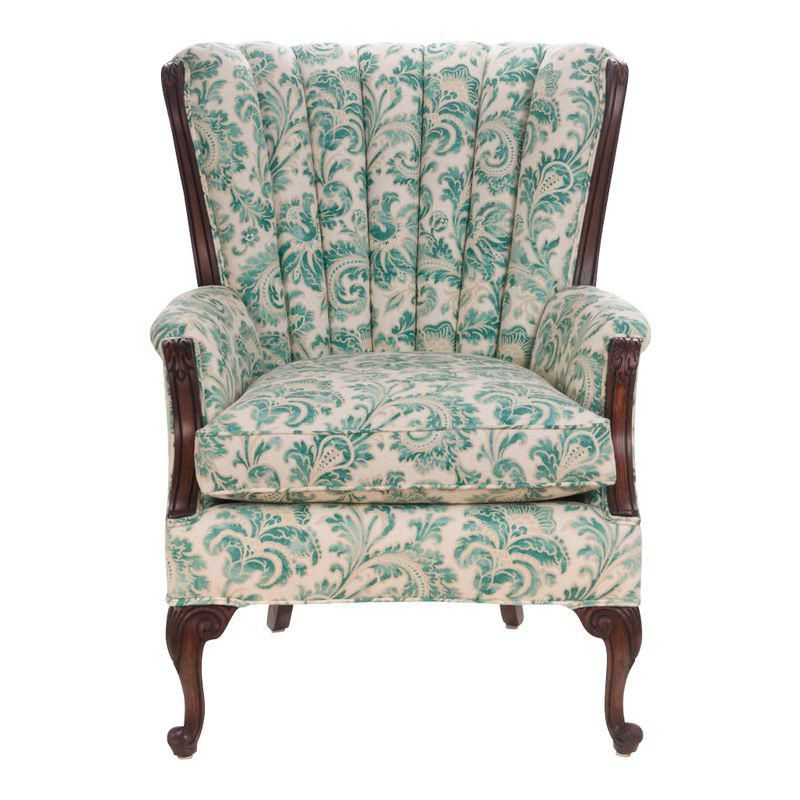 Queen Anne Vintage Channel Back Wing Chair Chair Queen