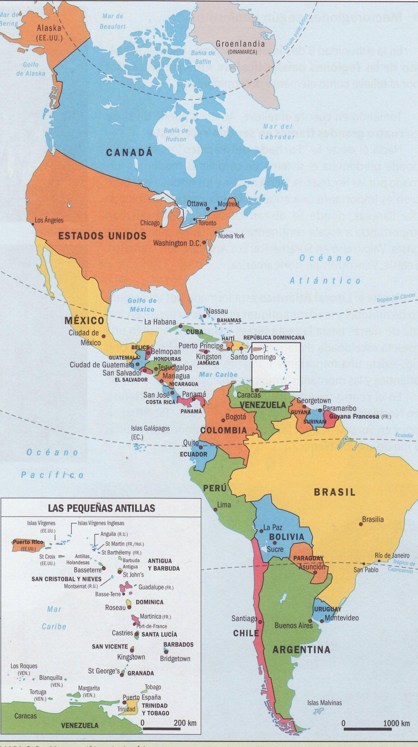 Mapa Politico De America Con Imagenes Mapa De America Mapa De