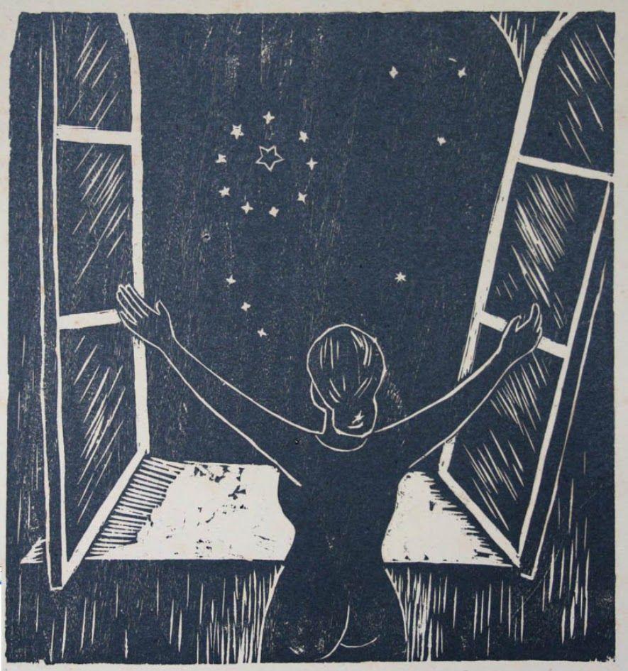 mujer en una ventana mirando las estrellas bilaketarekin bat datozen irudiak