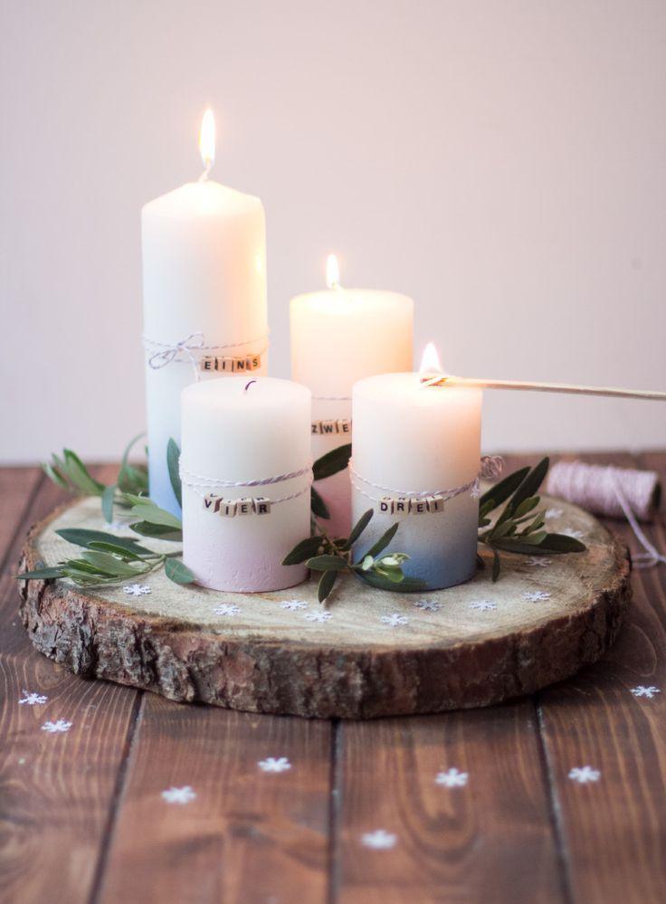 Baumscheiben-Adventskranz | Weihnachten, Adventskranz, Weihnachtstischgedecke