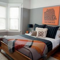 60Top Gray Bedroom With Pop Of Color For Teens Accent Walls Choices 37 #graybedroomwithpopofcolor