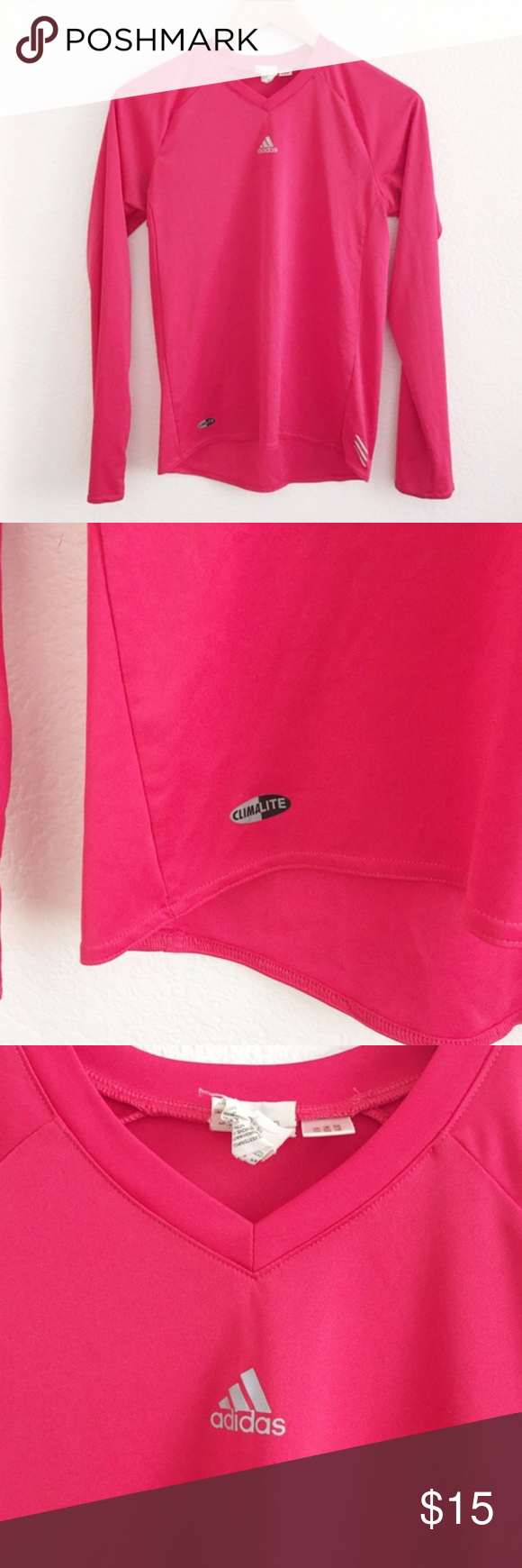 Adorable pink Adidas Climalite pink top Excellent condition! 100% polyester Adidas Tops
