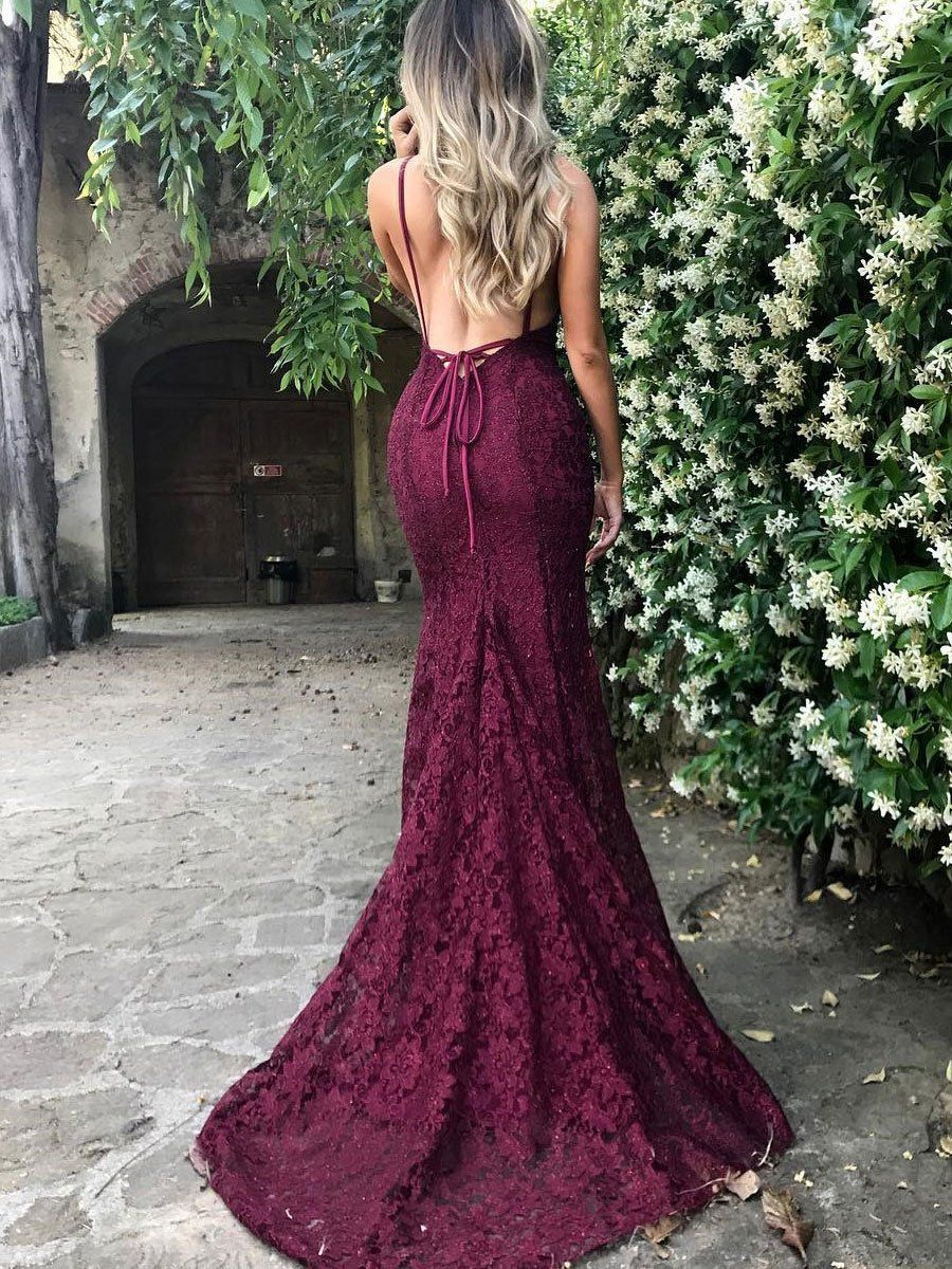 fe3f1a13479 SheerGirl prom dresses Burgundy Lace V-neck Sexy Low Back Mermaid Prom  Dresses with Sweep Train APD2823