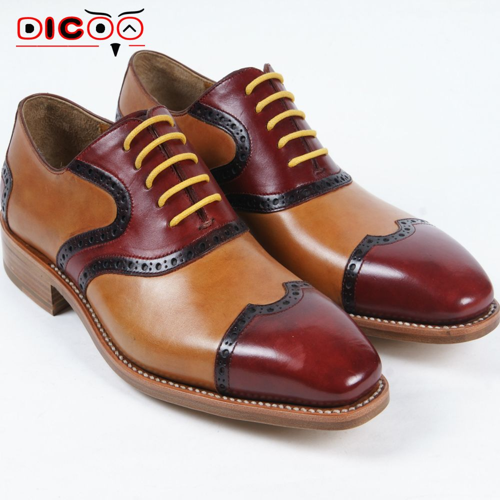 $279.00 (Buy here: http://appdeal.ru/dwdf ) Luxury mens bespoke goodyear leather oxfords shoes unique boss shoes italian handmade mens dress shoes burgundy mens gents shoes for just $279.00