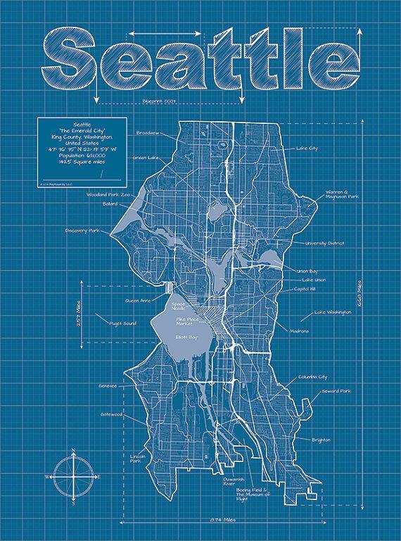 Seattle artistic blueprint map blueprints pinterest seattle seattle artistic blueprint map malvernweather Image collections