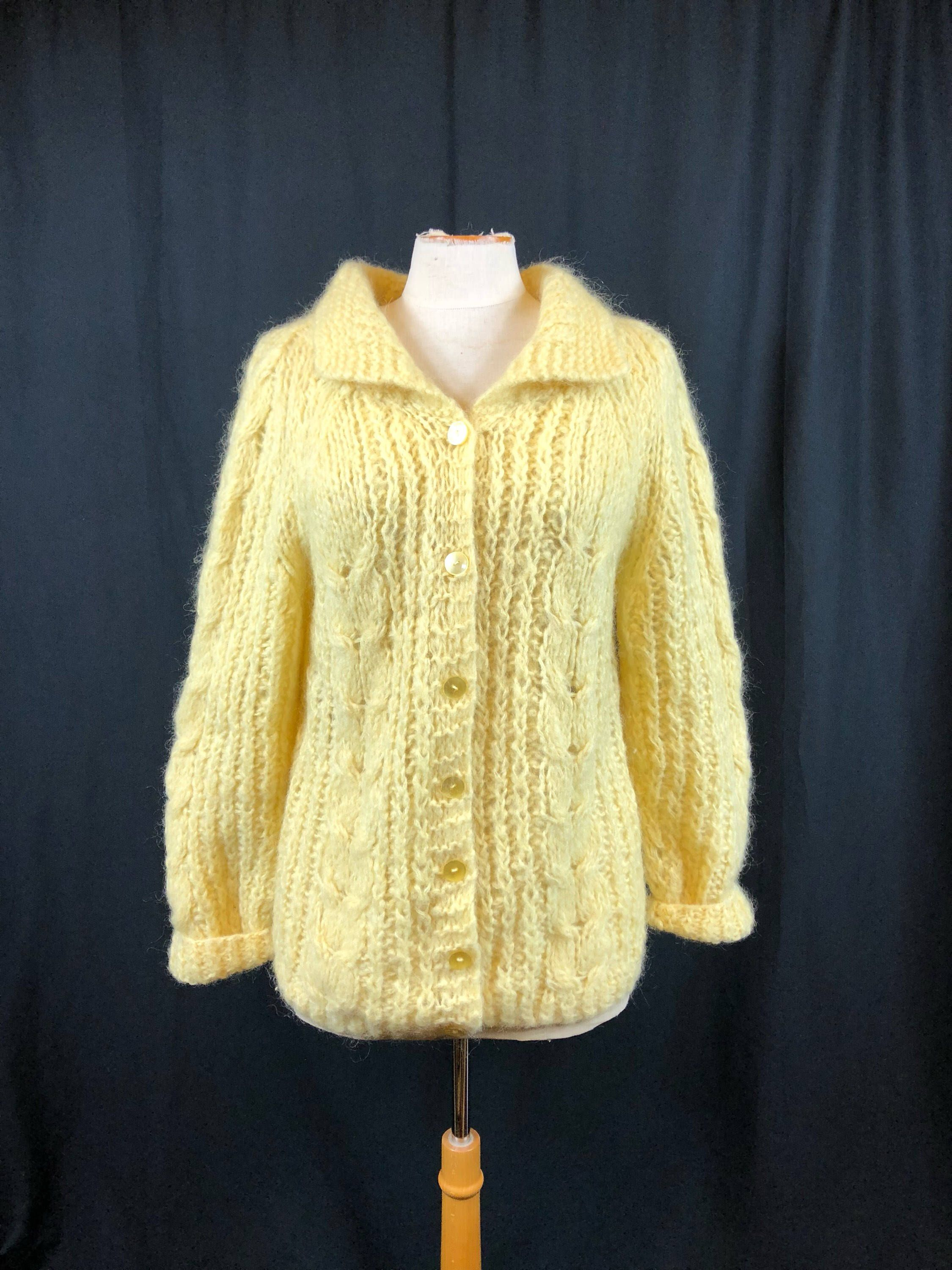 b7babc8c62eb47 Oversized Vintage Sweater Jumper Yellow Knit Long Sleeve Mohair Womens  Loose Knit Sweater Soft Fluffy Hand