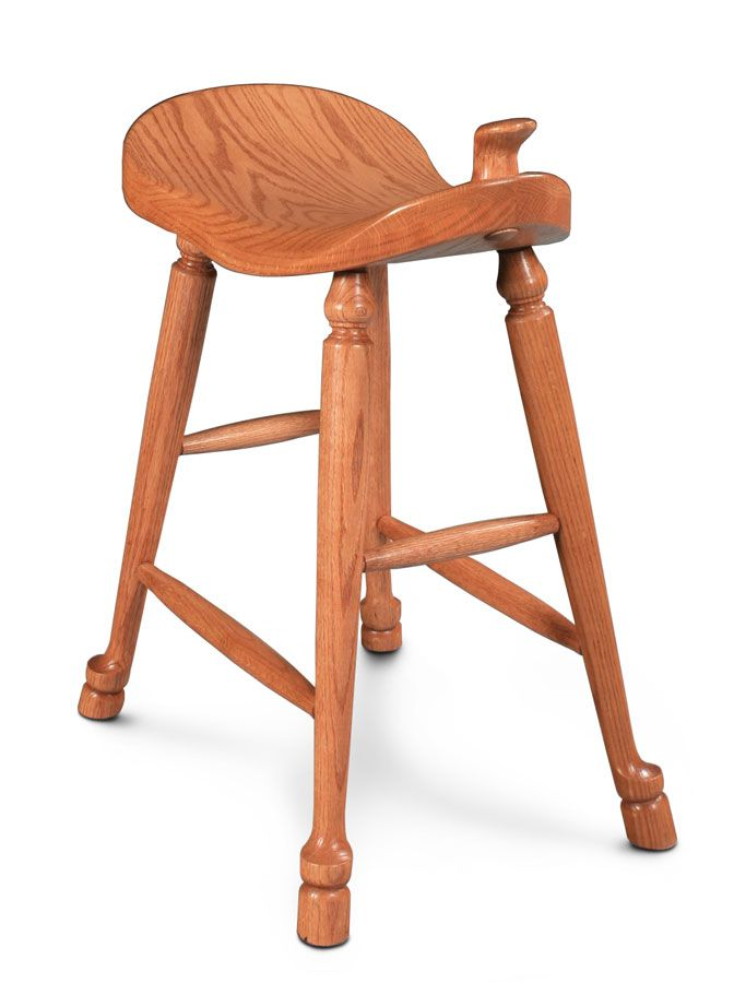 Fascinating Amish Oak Bar Stool With Horse Saddle For Stool Seat