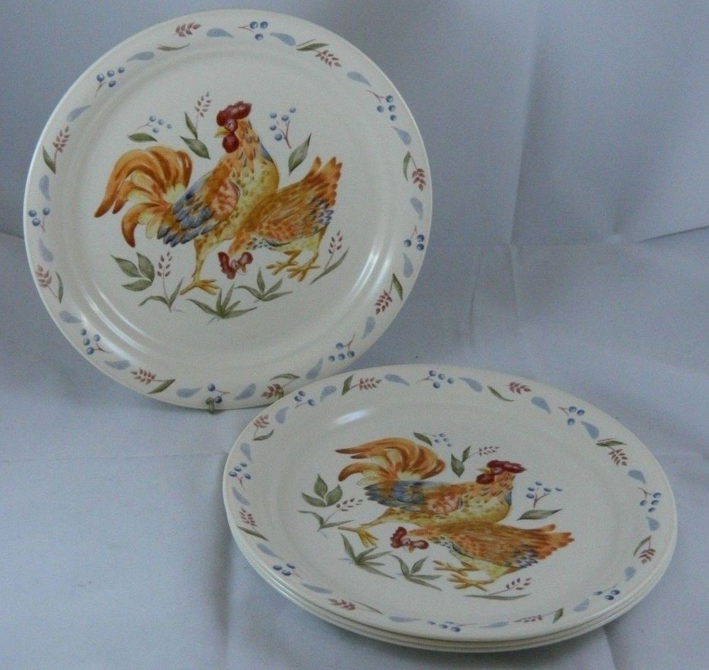 Set of 4 Corelle COUNTRY MORNING 8.5 Inch Luncheon Plates Rooster ...