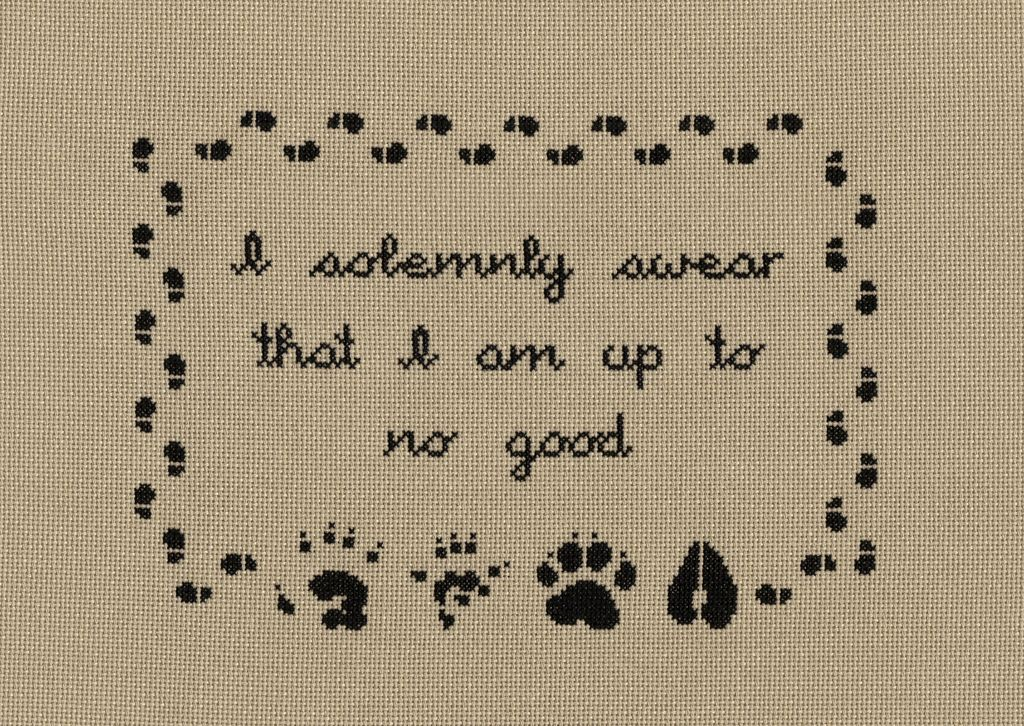 I solemnly swear that I am up to no good.  Harry Potter cross-stitch