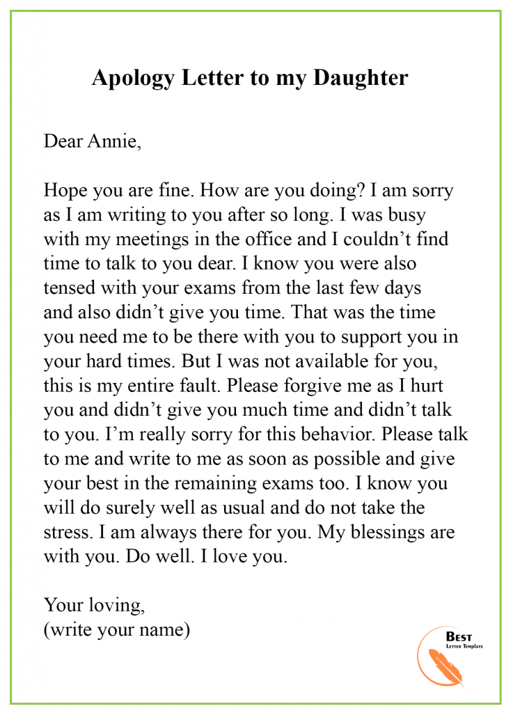 Apology Letter Template To Daughter Format Sample Example Letter To My Daughter Letter To Dad Letter To My Mother
