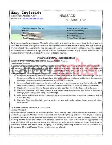 Massage Therapist Resume Sample Resume Pinterest