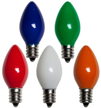 C7 Opaque Painted Multi Colored Incandescent Christmas