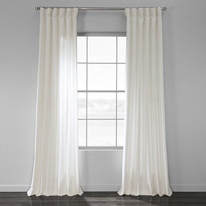 Sanger Solid Country Cotton Linen Weave Rod Pocket Single Curtain
