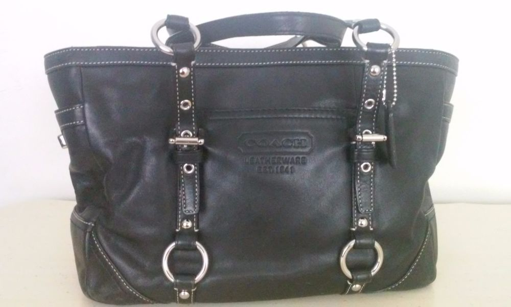 Coach handbag black leather medium  #Coach #ShoulderBag