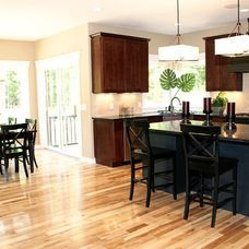 Dark Cabinets Paired With Blonde Flooring For The Home Kitchen Flooring Maple Floors Light Hardwood Floors