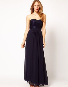 Enlarge Coast Molina Maxi Dress with Satin Bust and Halter Straps in Navy