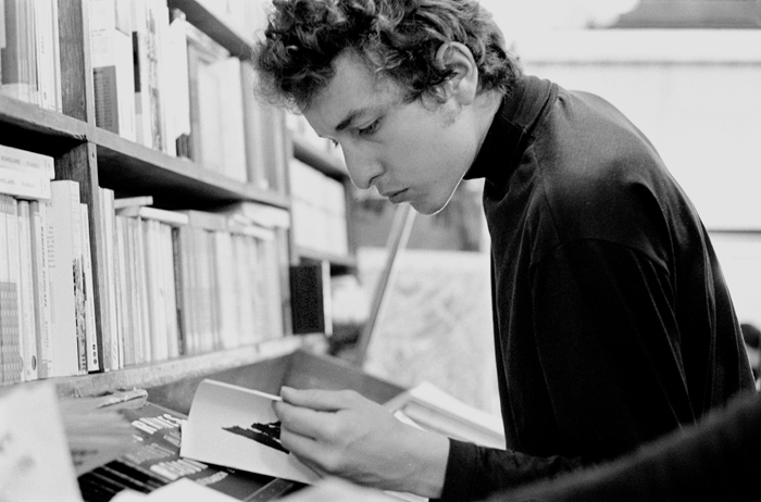 Bob Dylan in bookstore, Greenwich Village, NY  - 1964