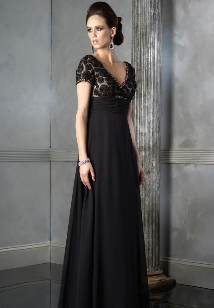 Elegant Empire V Neck Floor Length Chiffon Black Gorgeous Plus Size Mother Of Bride Dresses 2013