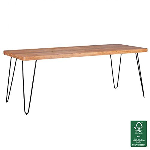 WOHNLING Esstisch Massivholz Akazie 200 X 100 X 76 Cm Esszimmer Tisch  Küchentisch Modern Landhaus
