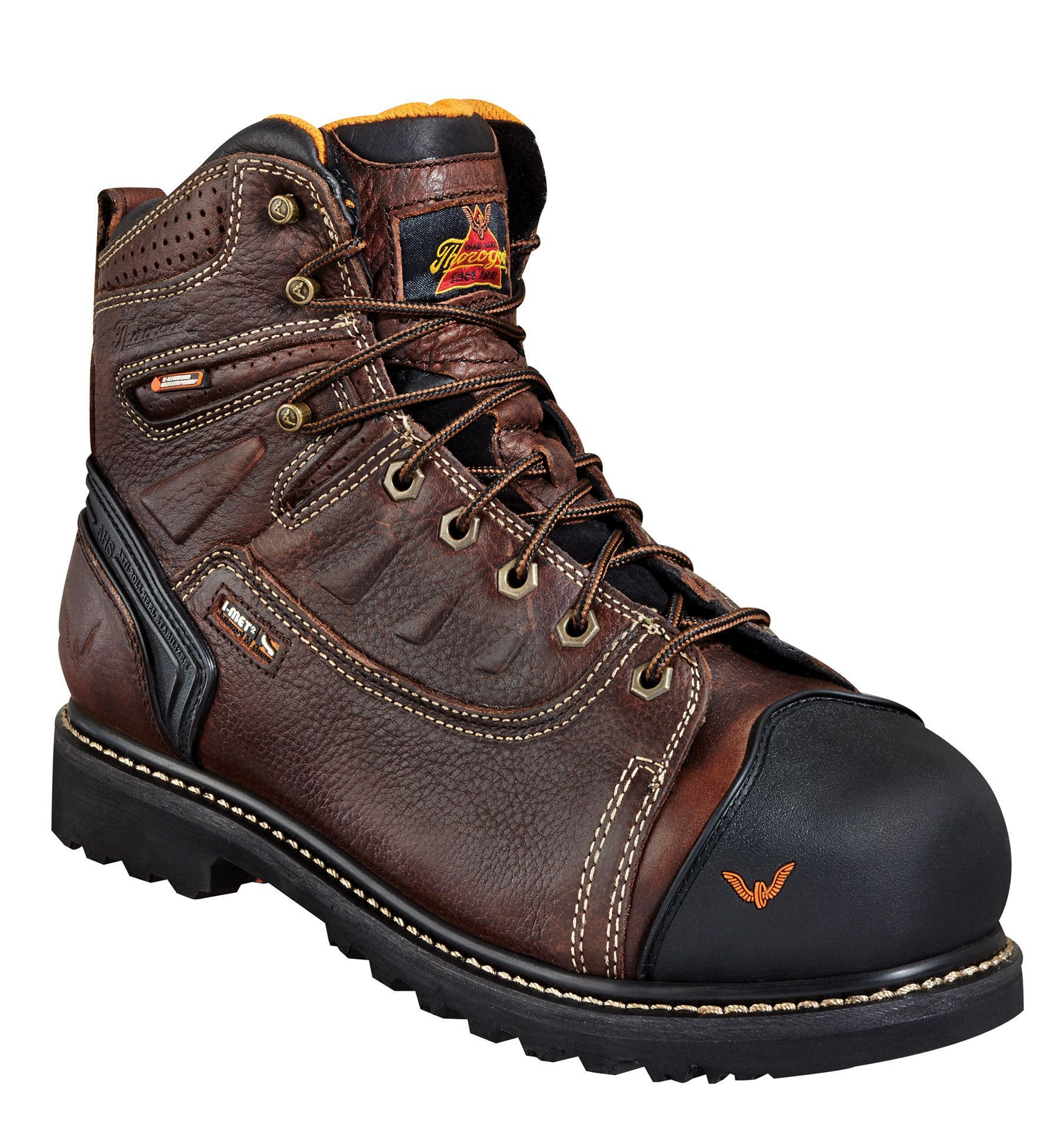ba7d3fd8f63 Thorogood Mens Work Boots Brown Leather I-Met 6in WP Lace-to-Safety ...