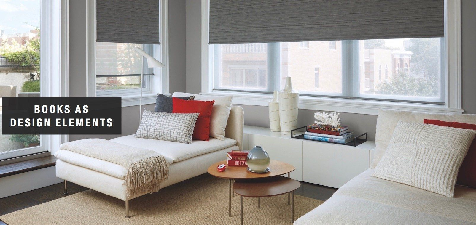 Window treatment ideas for a sunroom  books as design elements  design ideas from peninsula window