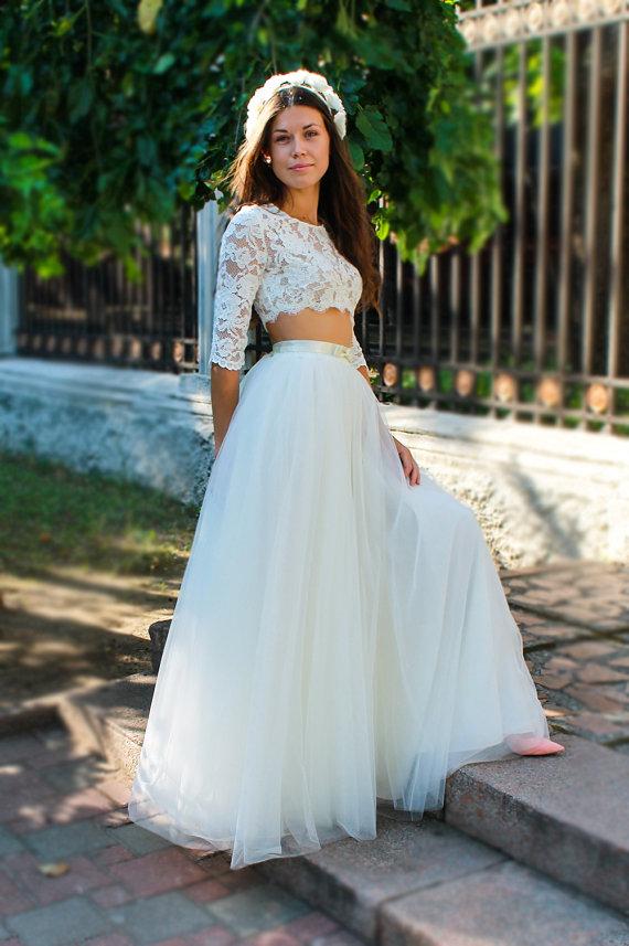 Ivory tulle skirt long tulle skirt women bridal tutus