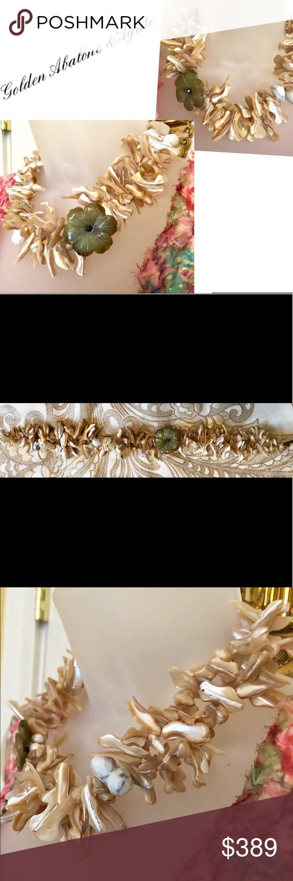Photo of Golden Abalone & Achat Briolette Handgemachte Halskette Fabulous 🌟Genuine Golden A …